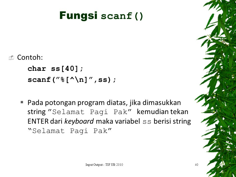 Fungsi scanf() Contoh: char ss[40]; scanf( %[^\n] ,ss);